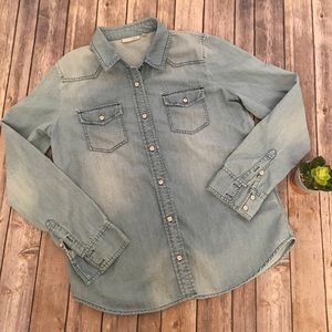 Halogen Chambray Distressed Button Down Shirt Med